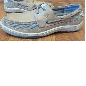 SPERRY BOAT SHOES LEATHER CAUSAL LIGHT BROWN Sz 9